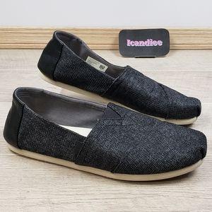 Mens Toms Slip On Black Shoes Sz 9